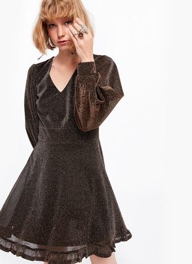Balon Kollu Mini Elbise-Twist